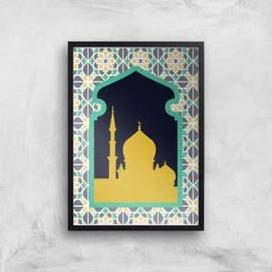 Eid Mubarak Mixed Print And Earth Tone Window Giclee Art Print