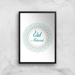 Eid Mubarak Rainbow Mandala Giclee Art Print