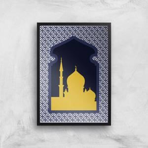 Eid Mubarak Circle Pattern With Dark Window Frame Giclee Art Print