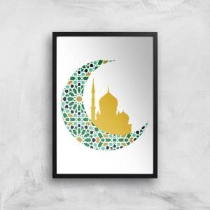 Eid Mubarak Pattern Moon With Skyline Giclee Art Print