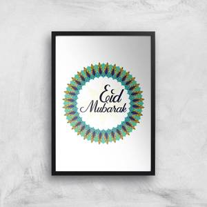 Eid Mubarak Peacock Coloured Wreath Giclee Art Print