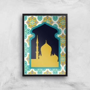 Eid Mubarak Golden Pattern With Window Giclee Art Print