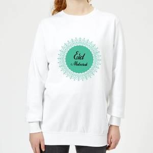 Eid Mubarak Earth Tone Wreath Women's Sweatshirt - White