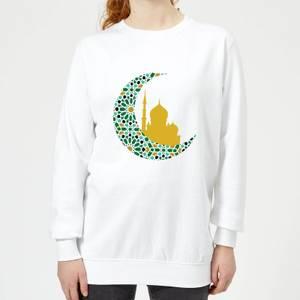 Eid Mubarak Patterned Moon And Golden Skyline Women's Sweatshirt - White