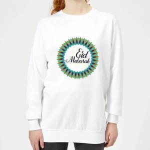 Eid Mubarak Peacock Coloured Wreath Women's Sweatshirt - White