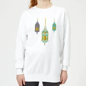 Eid Mubarak Lamps Women's Sweatshirt - White