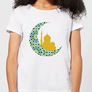 Eid Mubarak Patterned Moon And Golden Skyline Women's T-Shirt - White