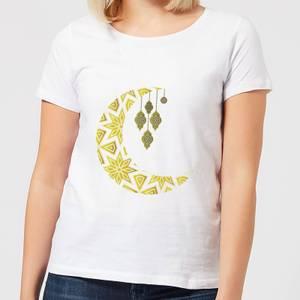 Eid Mubarak Pattern Moon Women's T-Shirt - White
