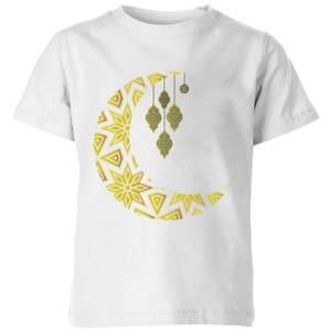Eid Mubarak Pattern Moon Kids' T-Shirt - White