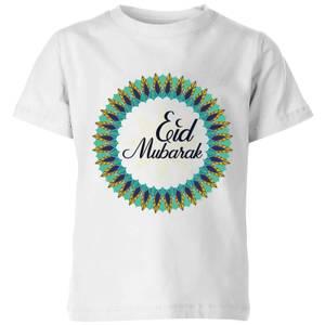 Eid Mubarak Peacock Coloured Wreath Kids' T-Shirt - White