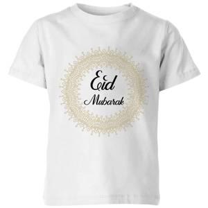 Eid Mubarak Golden Mandala Kids' T-Shirt - White