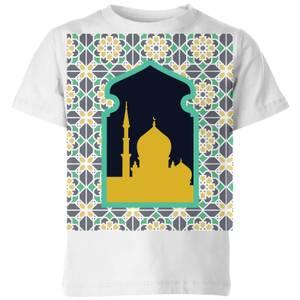Eid Mubarak Earth Tone Print And Window Frame Kids' T-Shirt - White