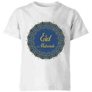 Eid Mubarak Royal Tones Wreath Kids' T-Shirt - White
