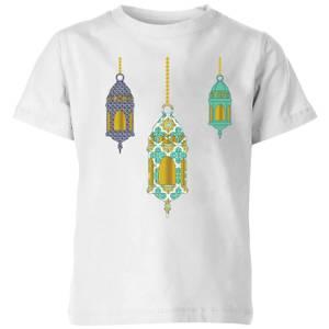 Eid Mubarak Lamps Kids' T-Shirt - White