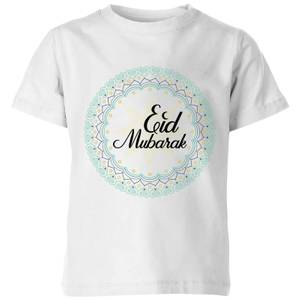 Eid Mubarak Light Tone Mandala Kids' T-Shirt - White