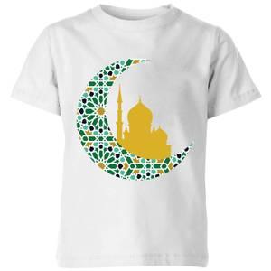 Eid Mubarak Patterned Moon And Golden Skyline Kids' T-Shirt - White