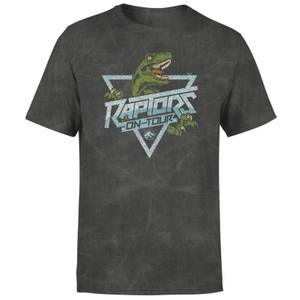 Jurassic Park Raptors On Tour Unisex T-Shirt - Black Acid Wash