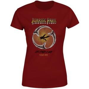 Jurassic Park Life Finds A Way Tour Women's T-Shirt - Burgundy