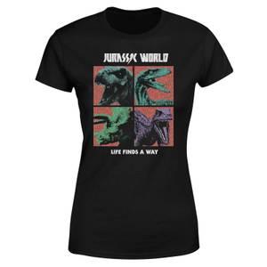 Jurassic Park World Four Colour Faces Women's T-Shirt - Black