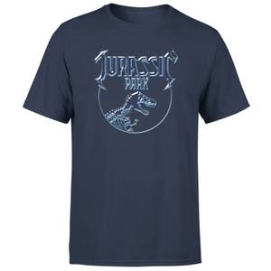 Jurassic Park Logo Metal Men's T-Shirt - Navy