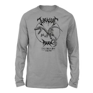Jurassic Park Raptor Drawn Unisex Long Sleeved T-Shirt - Grey