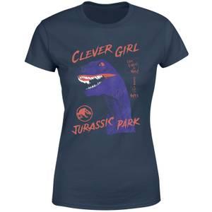 Jurassic Park Life Finds A Way Raptor Women's T-Shirt - Navy