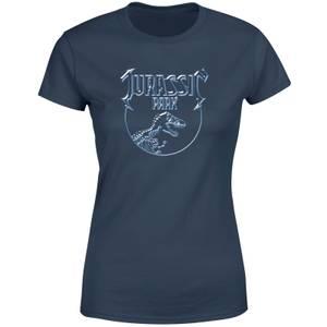 Jurassic Park Logo Metal Women's T-Shirt - Navy