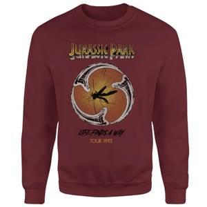 Jurassic Park Life Finds A Way Tour Sweatshirt - Burgundy