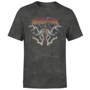 Jurassic Park Raptor Twinz Unisex T-Shirt - Black Acid Wash