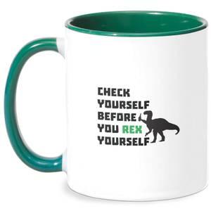 Check Yourself Before You Rex Yourself Mug - White/Green