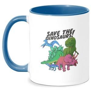 Save The Dinosaurs Mug - White/Blue