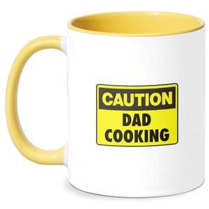 Caution Dad Cooking Mug - White/Yellow