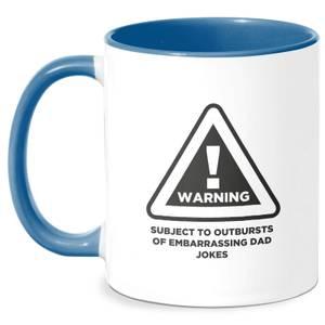Warning Dad Jokes Mug - White/Blue