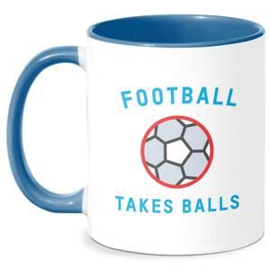 Football Takes Balls Mug - White/Blue
