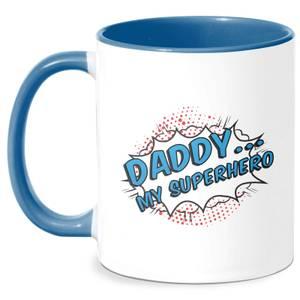 Daddy My Superhero Mug - White/Blue