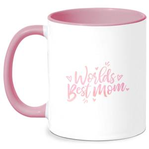 Worlds Best Mom Mug - White/Pink