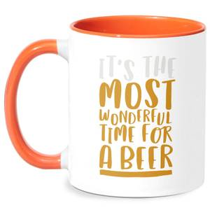 It's The Most Wonderful Time For A Beer Mug - White/Orange