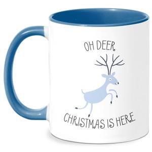 Oh Deer Christmas Is Here Mug - White/Blue