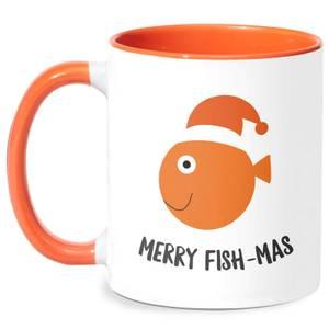 Merry Fish-Mas Mug - White/Orange