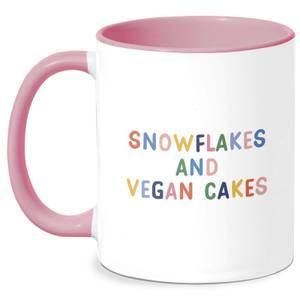 Snowflakes And Vegan Cakes Mug - White/Pink