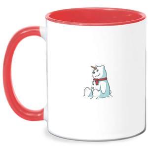 Unicorn Snowman Mug - White/Red