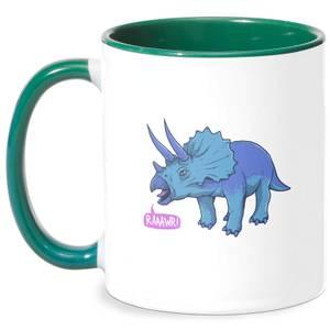 Rawr It Means I Love You In Dinosaur Mug - White/Green