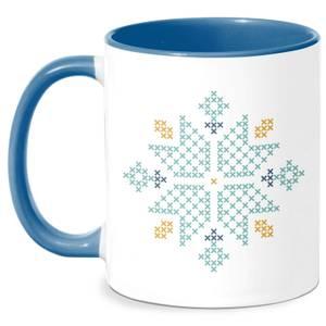 Cross Stitch Snow Flake Mug - White/Blue