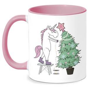 Unicorn Decorating The Christmas Tree Mug - White/Pink