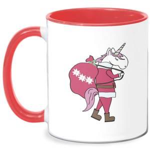 Unicorn Santa Mug - White/Red