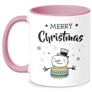 Merry Christmas Snowman Mug - White/Pink