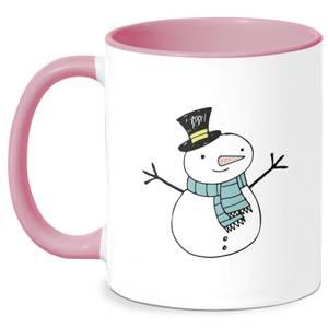 Christmas Snowman Mug - White/Pink