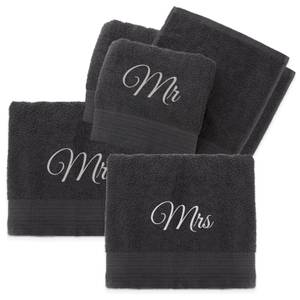 Mr & Mrs Cotton Embroidered Towel Bale - Grey