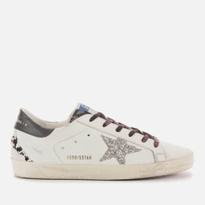 Golden Goose Deluxe Brand Women's Superstar Leather Trainers - White/Indaco Leo/Silver/Black/Grey