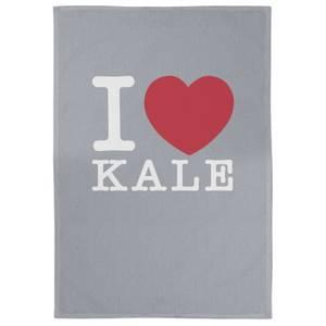 I Love Kale Cotton Grey Tea Towel